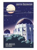 Griffith Observatory at Night - Los Angeles, California Posters by Lantern Press