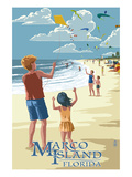 Marco Island, Florida - Kites on Beach Prints by  Lantern Press