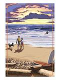 Beach Scene and Surfers Print by  Lantern Press