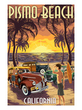 Pismo Beach, California - Woodies and Sunset Prints by  Lantern Press