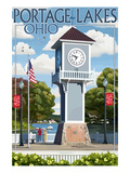 Portage Lakes, Ohio - Clock Tower Posters by  Lantern Press