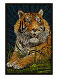 Tiger - Paper Mosaic Poster by Lantern Press