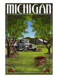 Michigan - Cherry Orchard Harvest Prints by  Lantern Press