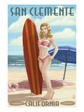 San Clemente, California - Pinup Surfer Girl Print by Lantern Press 