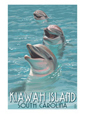 Kiawah Island, South Carolina - Dolphins Posters by Lantern Press