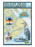 Hilton Head, South Carolina - Nautical Chart Posters by  Lantern Press