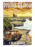 Pismo Beach, California - Woody and Lighthouse Posters by  Lantern Press