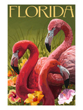 Pink Flamingos - Florida Poster by  Lantern Press