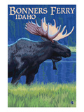 Bonners Ferry, Idaho - Moose at Night Prints by  Lantern Press