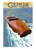 Geneva, New York - Wooden Boat on Lake Print by  Lantern Press