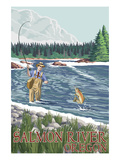 Fishing Scene - Salmon River, Oregon Prints by Lantern Press