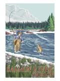 Fishing Scene - Salmon River, Oregon Prints by  Lantern Press