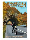 Shenandoah National Park, Virginia - Marys Rock Tunnel Motorcycle Reprodukcje autor Lantern Press