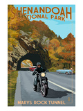 Shenandoah National Park, Virginia - Marys Rock Tunnel Motorcycle Print by Lantern Press