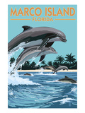 Marco Island, Florida - Dolphins Jumping Print by  Lantern Press
