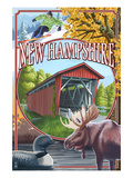 New Hampshire - Montage Scenes Art par Lantern Press