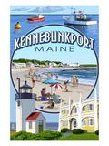 Kennebunkport, Maine - Montage Scenes Kunstdrucke von  Lantern Press