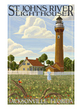 St. Johns River Lighthouse - Jacksonville, Florida Prints by  Lantern Press
