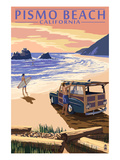 Pismo Beach, California - Woody and Beach Print by  Lantern Press