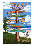 Cataumet, Cape Cod, Massachusetts - Sign Destinations Prints by  Lantern Press