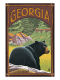 Georgia - Black Bear in Forest Art by Lantern Press 