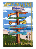 Marshfield, Massachusetts - Sign Destinations Print by  Lantern Press