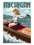 Michigan - Pinup Girl Boating Prints by  Lantern Press