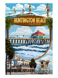 Huntington Beach, California - Montage Scenes Prints by Lantern Press 