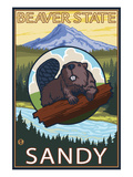 Beaver and Mt. Hood - Sandy, Oregon Posters by Lantern Press 