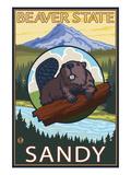 Beaver and Mt. Hood - Sandy, Oregon Posters by  Lantern Press