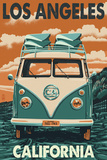 Los Angeles, California - VW Van Prints by  Lantern Press