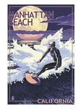 Manhattan Beach, California - Night Surfer Prints by Lantern Press 