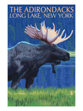 The Adirondacks - Long Lake, New York State - Moose at Night Prints by  Lantern Press
