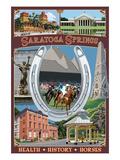 Saratoga Springs, New York - Town Montage Kunstdrucke von  Lantern Press