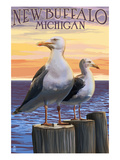 New Buffalo, Michigan - Seagull Scene Posters by  Lantern Press