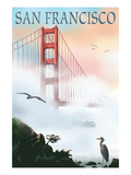 Golden Gate Bridge in Fog - San Francisco, California Giclee-tryk i høj kvalitet af  Lantern Press