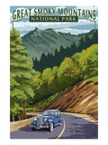 Chimney Tops and Road - Great Smoky Mountains National Park, TN Print by  Lantern Press