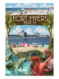 Fort Myers, Florida - Montage Scenes Poster von  Lantern Press