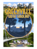 Greenville, South Carolina - Montage Art by  Lantern Press
