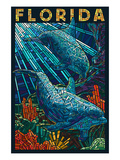 Dolphin Paper Mosaic - Florida Poster by Lantern Press