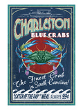 Charleston, South Carolina - Blue Crabs Poster von Lantern Press