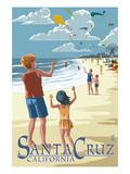 Santa Cruz, California - Beach and Kite Flyers Prints by  Lantern Press