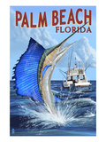 Palm Beach, Florida - Sailfish Scene Affiches par  Lantern Press