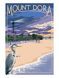 Mount Dora, Florida - Blue Heron and Beach Prints by  Lantern Press