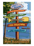 Lakes Region, New Hampshire - Destination Sign Prints by  Lantern Press