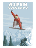 Jumping Snowboarder - Aspen, Colorado Posters by  Lantern Press