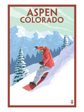 Downhill Snowboarder - Aspen, Colorado Posters by Lantern Press 