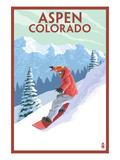 Downhill Snowboarder - Aspen, Colorado Poster by  Lantern Press