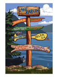 Lake Rabun, Georgia - Sign Destinations Art by  Lantern Press