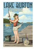 Lake Burton, Georgia - Fishing Girl Pinup Posters by  Lantern Press